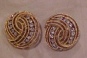 Trifari goldtone and rhinestone earrings (Image1)