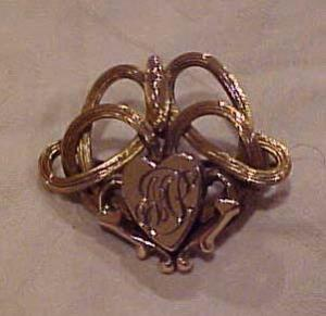 Victorian gold filled pin with heart (Image1)