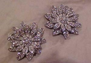Pair of rhinestone flower dress clips (Image1)