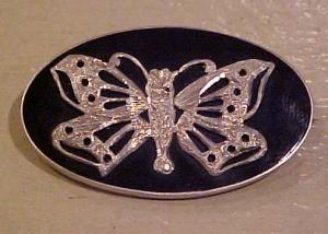 Victorian Onyx Pin With Butterfly