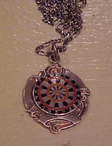 Sterling & enamel pendant on chain-1902 (Image1)