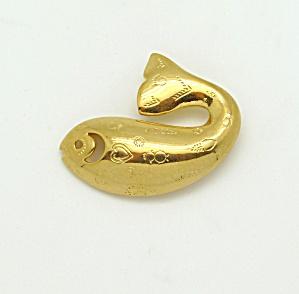 Trifari Goldtone Fish Brooch (Image1)