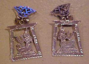 Sterling Egyptian Revival Earrings (Image1)