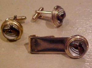 Flex-Let Horse Cufflinks and tie bar (Image1)