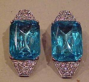 Turquoise and clear deco style earrings (Image1)