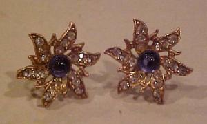 Snowflake design rhinestone earrings (Image1)