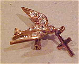 Bird pin with cross and rhinestones (Image1)