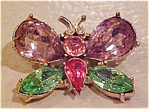 Coro Butterfly brooch with rhinestones (Image1)