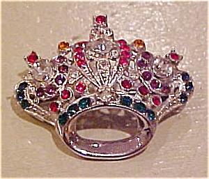 Coro rhinestone crown pin (Image1)