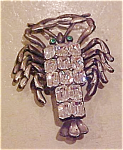 Lobster pin with rhinestones (Image1)