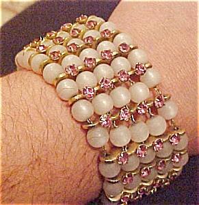 Pink rhinestone & bead bracelet (Image1)