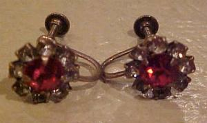pink and clear rhinestone sterling earrings (Image1)