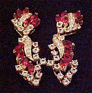 Red and Clear Rhinestone earrings (Image1)