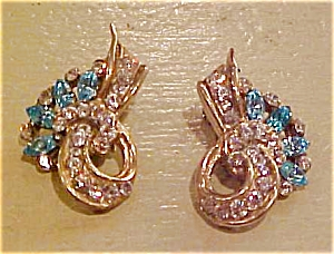 Retro design earrings w/rhinestones (Image1)