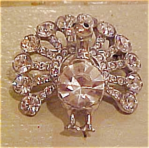 Castlecliff rhinestone peacock brooch (Image1)