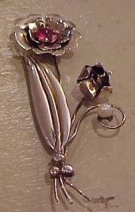 Migley Sterling Retro Flower pin (Image1)