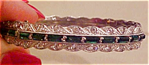 Art Deco green /Cl rhinestone bangle (Image1)
