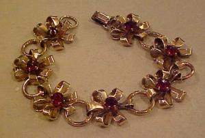 1940's retro bracelet w/red rhinestones (Image1)