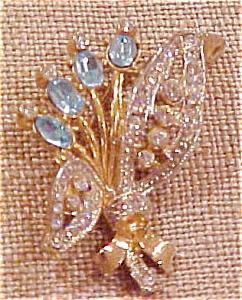 Coro floral design rhinestone pin (Image1)