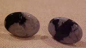 Cufflinks with grey and black stone (Image1)