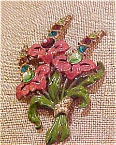 Floral enameled brooch w/rhinestones (Image1)