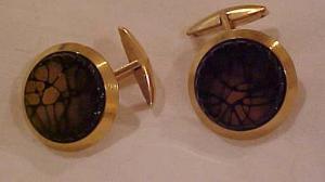 Goldtone cufflinks with glass (Image1)