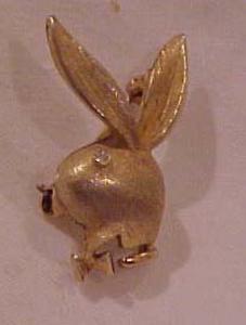 Playboy bunny head pin w/rhinestone (Image1)