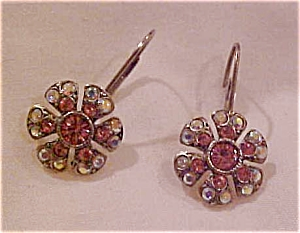 Pink and ab rhinestone earrings (Image1)
