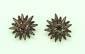 Earrings with red and smoke rhinestones (Image1)