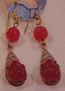 Czechoslovakian molded glass earrings (Image1)