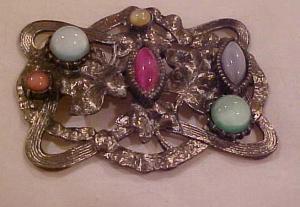 Art Nouveau silver sash pin w/stones (Image1)