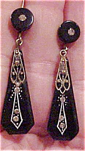 Art deco bakelite earrings with rhinestones (Image1)