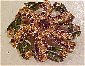 Green and topaz rhinestone brooch (Image1)
