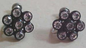 Black plastic earrings with clear rhinestones (Image1)