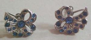 Blue rhinestone bow earrings (Image1)