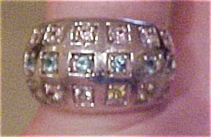 Modern sterling ring with glass stones (Image1)