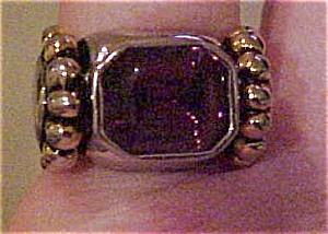 Sterling ring with amethyst glass (Image1)