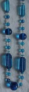 Blue and clear glass art deco necklace (Image1)