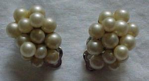 Ciner faux pearl cluster earrings (Image1)
