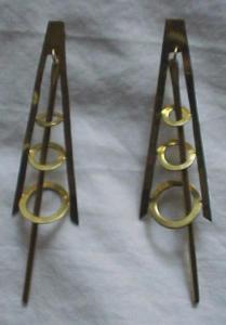 1960's brass modern style earrings (Image1)