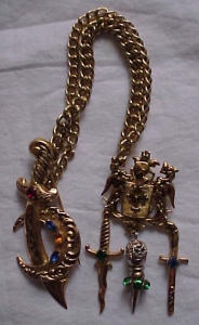 Coro sword and shield chatelaine style pin (Image1)