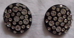 Black thermoplastic earrings w/ rhinestones (Image1)