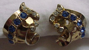 Coro retro style earrings w/rhinestones (Image1)