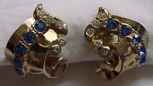 Coro retro style earrings w/rhinestones (Image1)