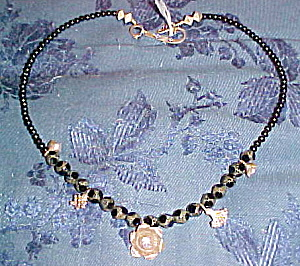 black bead and sterling flower necklace (Image1)