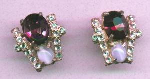 Rhinestone and cabachon earrings (Image1)