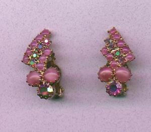 Pink Aurora Borealis Rhinestone and Cabachon earrings (Image1)