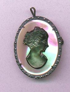 Glass cameo set in 800 silver frame with marcasites (Image1)