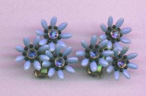 1950's Plastic Flower Earrings with Rhinestones (Image1)