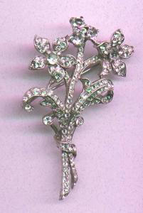 TRIFARI sterling flower pin with rhinestones (Image1)